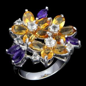 серебряное кольцо с натуральными цитринами и аметистами
