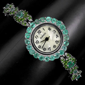 Часы-браслет из серебра Изумруд-Хромдиопсид