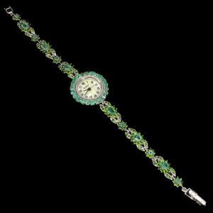 серебряные часы-браслет с натуральными изумрудами