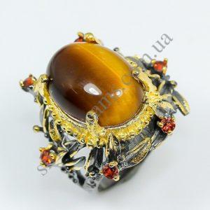 дизайнерское серебряное кольцо с тигровым глазом