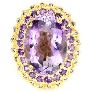 Коктейльное кольцо из серебра с крупным аметистом