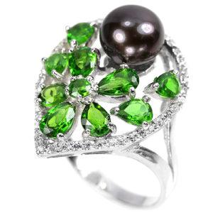 Серебряное кольцо Чёрный Жемчуг-Хромдиопсид