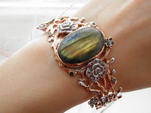 дизайнерский серебряный браслет с лабрадоритом