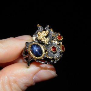 серебряные украшения со звёздчатым сапфиром в Украине