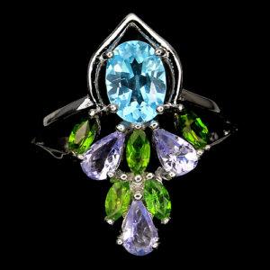 Серебряное кольцо Топаз-Танзанит-Диопсид