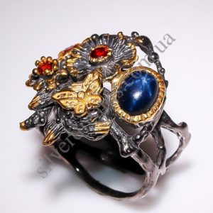 дизайнерское серебряное кольцо со звёздчатым сапфиром
