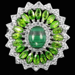 Серебряное кольцо с малахитом и диопсидами