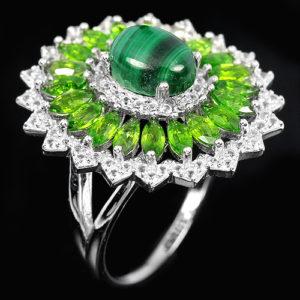 Серебряное кольцо Малахит-Хромдиопсид
