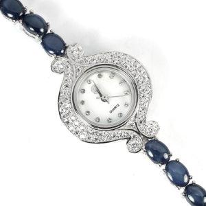 Серебряные часы со звёздчатыми сапфирами