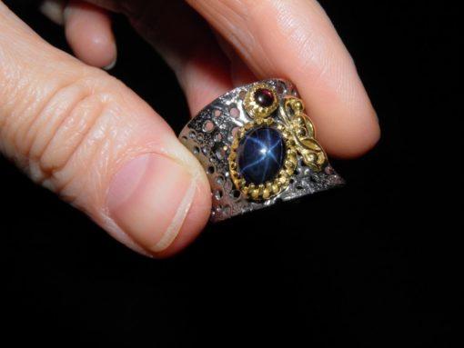 Кольцо со звёздчатым сапфиром купить