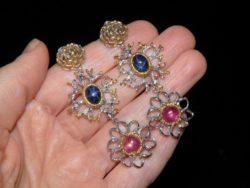 Серебряные серьги со звёздчатыми сапфирами и рубинами