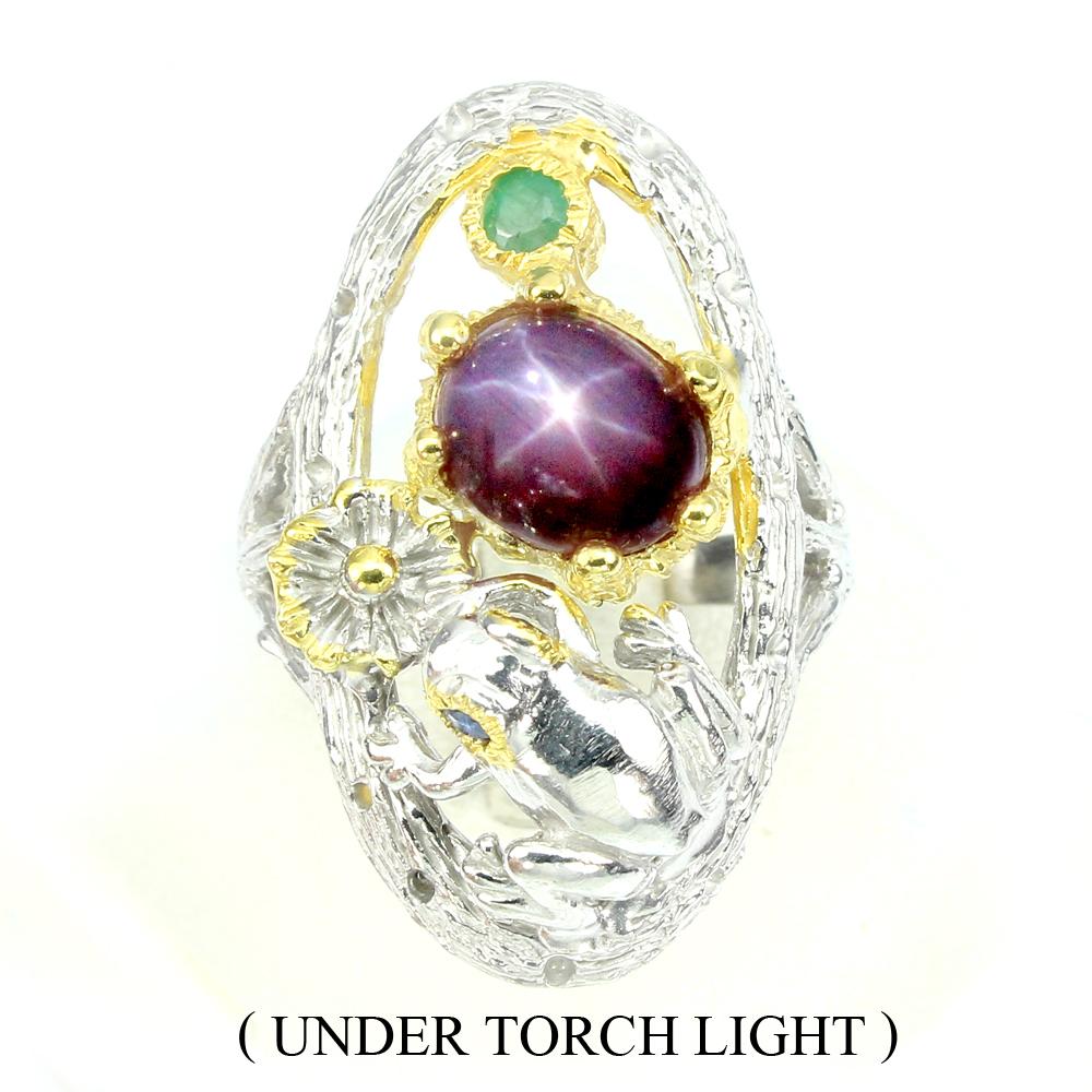 Дизайнерский перстень со звёздчатым рубином