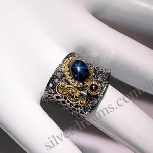 Кольцо со звёздчатым сапфиром купить в Украине