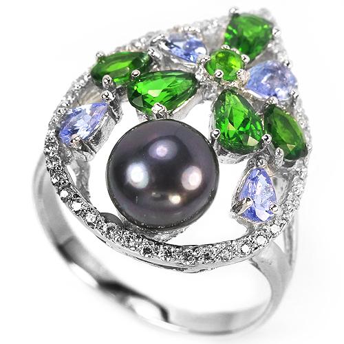 Серебряное кольцо Чёрный Жемчуг-Танзанит-Диопсид
