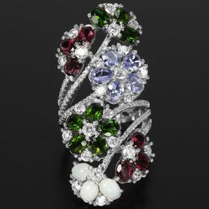 Коктейльное кольцо из серебра Диопсид-Танзанит-Опал-Родолит