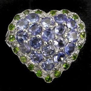 Серебряное кольцо Танзанит-Хромдиопсид
