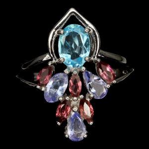 Серебряное кольцо Топаз-Танзанит-Родолит