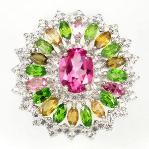 Серебряное кольцо Розовый Топаз-Турмалин-Диопсид