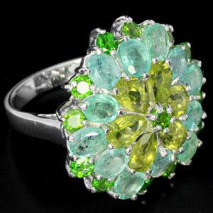 Серебряное кольцо Изумруд-Хризолит-Диопсид