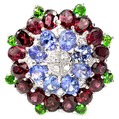 Коктейльное кольцо из серебра Танзанит-Родолит-Диопсид