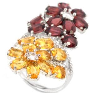 Серебряное кольцо с родолитами и цитринами