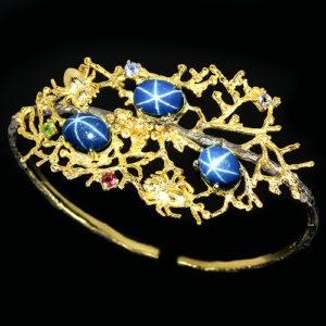 Дизайнерский браслет со звёздчатыми сапфирами