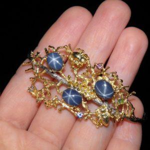 Серебряные украшения со звёздчатым сапфиром из Таиланда