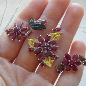 Рубиновое мультикольцо из серебра