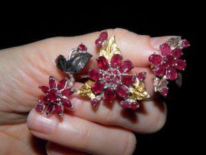 Серебряное мультикольцо с рубинами