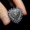 Серебряное кольцо-сердце Танзанит-Сапфир