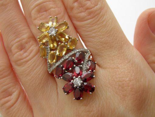 Коктейльное кольцо из серебра Родолит-Цитрин