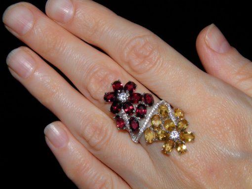 Коктейльное кольцо Цитрин-Родолит
