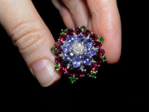 Серебряное кольцо Танзанит-Родолит-Диопсид