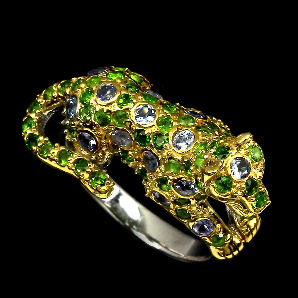 Серебряный перстень Танзанит-Хромдиопсид