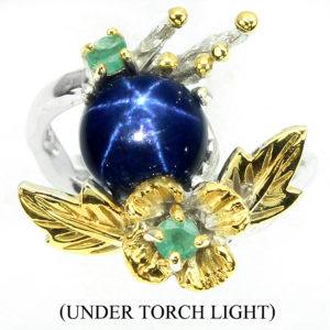 Серебряный перстень со звёздчатым сапфиром