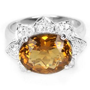 Серебряный перстень с коньячным кварцем