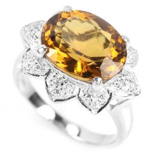Серебряное кольцо с коньячным кварцем