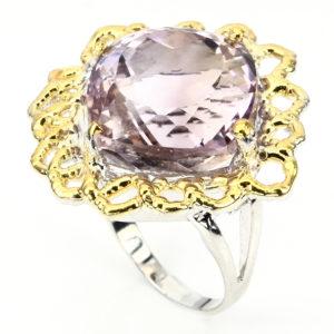 серебряное кольцо с крупным натуральным аметрином