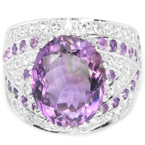 Серебряный перстень с крупным аметистом