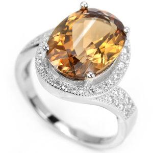 Серебряное кольцо с империал-топазом