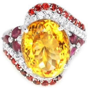 Коктейльное кольцо из серебра с цитрином и рубинами