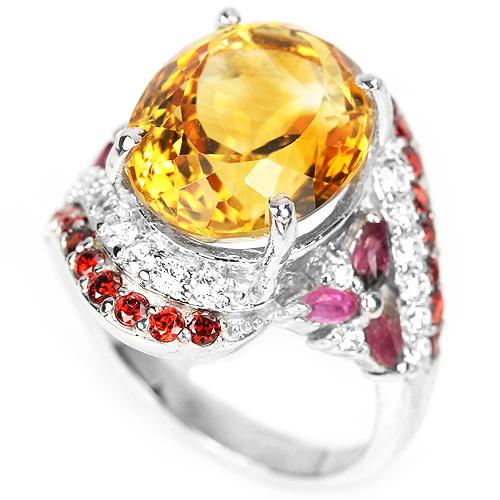 Коктейльный перстень с крупным цитрином и рубинами