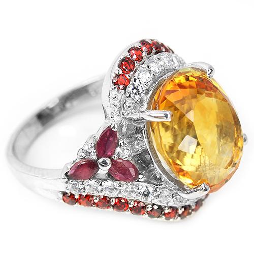 Серебряный перстень с крупным цитрином