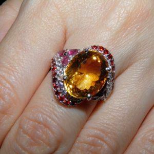 Коктейльный перстень из серебра Цитрин-Рубин