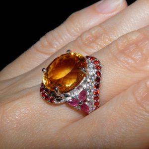 Цитриновое кольцо из серебра