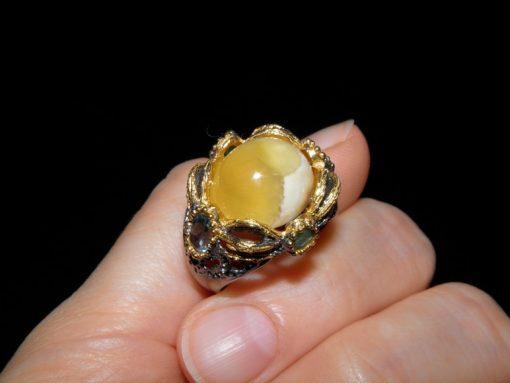 Серебряное кольцо с натуральным агатом топазом и изумрудом
