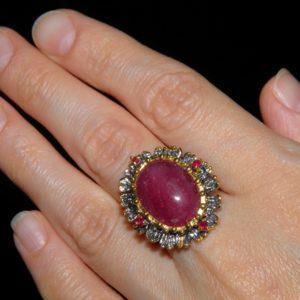 Серебряный перстень с огромным натуральным рубином