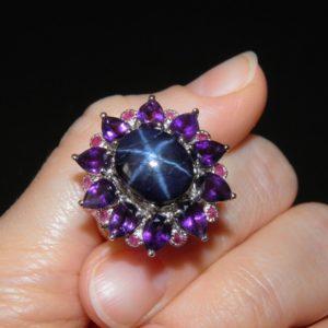 Перстень из серебра со звёздчатым сапфиром