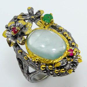 Серебряный перстень с крупным аквамарином