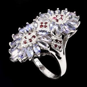 танзанитовые украшения из серебра